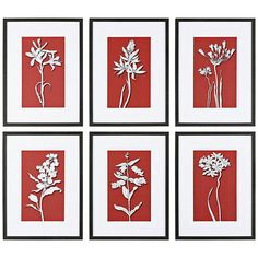 """Stylish & on trend floral prints - monochromatic color statement - Uttermost Ghost Floral 6-Piece 23 3/4"""" High Wall Art Set"""
