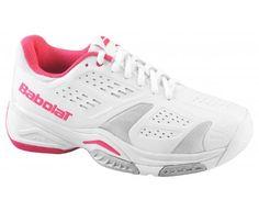 BABOLAT SFX Team All Court Ladies Tennis Shoe, White/Pink, UK6.5
