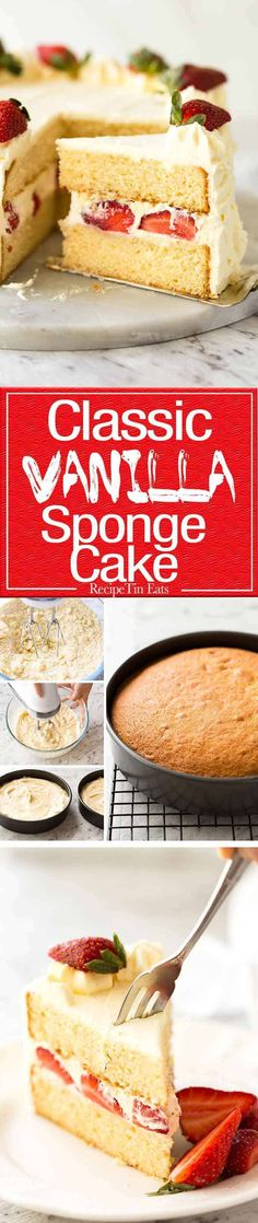 An exceptional classic Vanilla Sponge Cake Tender crumb moist keeps well for 3 days A Cooks Illustrated recipe Baking Recipes, Cake Recipes, Dessert Recipes, Food Cakes, Cupcake Cakes, Cupcakes, Cooks Illustrated Recipes, Vanilla Sponge Cake, Recipetin Eats