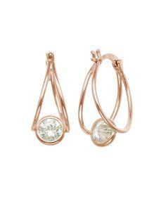 $14.99 Look what I found on #zulily! Cubic Zirconia & Rose Goldtone Bezel Hoop Earrings #zulilyfinds