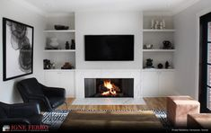 Wall Units With Fireplace, Built In Around Fireplace, Fireplace Feature Wall, Corner Gas Fireplace, Feature Wall Living Room, Living Room Decor Fireplace, Living Room Wall Units, Brick Fireplace Makeover, Fireplace Built Ins