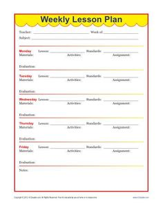 This weekly lesson plan template helps elementary teachers plan a whole week of lessons, including activities and assignments.