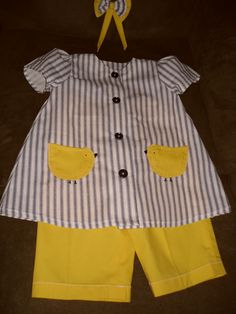Toddler Stripped grey and yellow w/chicks pants suit