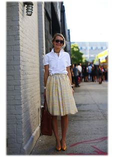 Consider length when wearing a midi skirt, ensure it ends in a small point of your leg. www.stylestaples.com.au