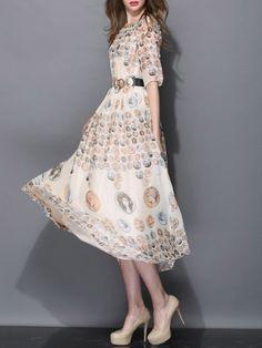 Coins Print Maxi Dress
