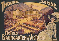 Hôtels Baumgarten et Victoria, Thoune – Vintage poster – ANONYME – 1910