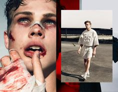 Cameron Day at Best Models photographed by Ricardo Santos and styled by João Pombeiro with pieces from Filipe Faísca, Ricardo Dourado, Nike, A.P.C, JUUN.J, Christopher Kaine and Nasir Mazhar, Make-Up: Sandro Gonçalo