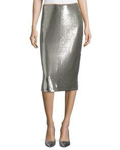 DIANE VON FURSTENBERG Sequined Midi Pencil Skirt, Silver. #dianevonfurstenberg #cloth #