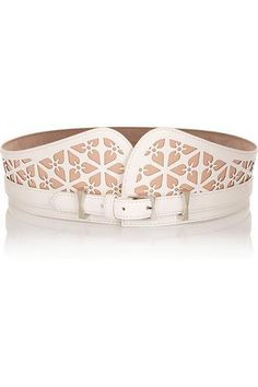 Laser-cut leather belt #accessories #covetme #alexandermcqueen