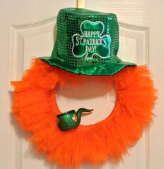 Leprechaun St. Patrick's Day Orange Tulle Wreath with Hat and Pipe. $34.99, via Etsy.