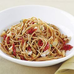 Spaghetti with Walnuts, Gorgonzola, and Sun-Dried Tomatoes -- Serve with a side salad. #myplate #protein #wholegrain