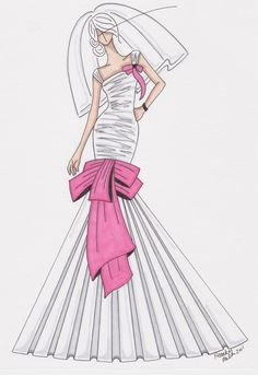 (••)                                                                     Custom sketched wedding gown!