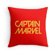 Captain Marvel Throw Pillow available in three sizes