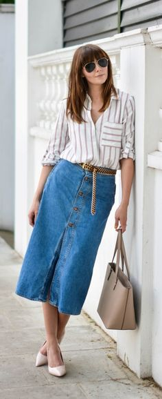 Button front skirt is back with new trendiness