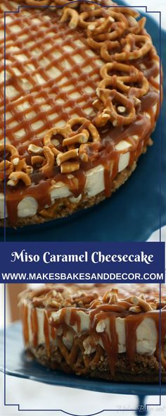 A recipe for miso caramel cheesecake from Makes, Bakes and Decor. A delicious biscuit and pretzel base with a light and fluffy no bake cheesecake filling. Covered in miso caramel which has a similar taste to salted caramel. No Bake Cheesecake Filling, Cheesecake Pie, Caramel Cheesecake, Cheesecake Recipes, No Cook Desserts, Best Dessert Recipes, Pretzel Day, Cheesecakes, Biscuit