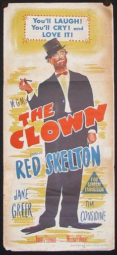 The Clown (1953) Stars: Red Skelton, Jane Greer, Tim Considine, Loring Smith, Philip Ober ~ Director: Robert Z. Leonard (Australian Daybill)