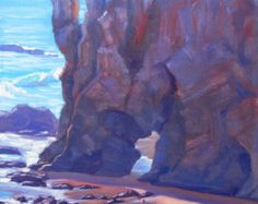 Seascape Painting, Towering El Matador, Malibu, California, original plein air painting by Elena Roché Fruit Painting, Large Painting, Painting Frames, Topanga State Park, Topanga Canyon, Seascape Paintings, Landscape Paintings, California Love, Southern California