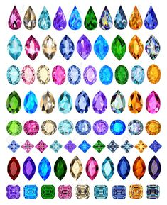 illustration set of precious stones of different cuts and colors Stock Vector - 19621487