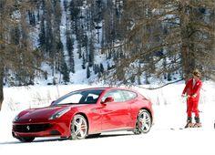 Lapo Elkann skiing behind a Ferrari FF