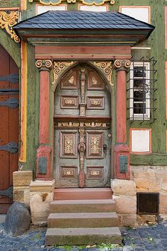 Ornate house with a door to match in Alsfeld, Germany. doors of the world. Entrance Ways, Entrance Doors, Doorway, Porte Cochere, Cool Doors, Unique Doors, Gates, Architecture Unique, Ancient Architecture