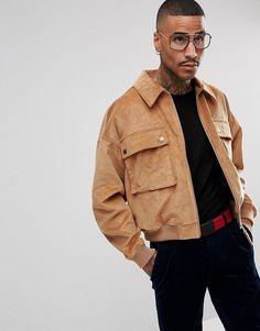 ASOS Cord Oversized Harrington Jacket in Tan - Tan