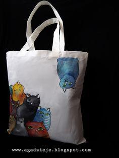 agadzieje: Kolorowe koty ( torba ręcznie malowana )