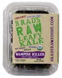 Brad's Raw Leafy Kale,Vampire Killer Vampires generate a lot of buzz,our Vampire Killer flavor is coated with red bell pepper,cashews,sunflower seeds,lemon juice,scallions,chickpea miso,garlic,Himalayan sea salt,these kale chips may kill vampires,but liven up your taste buds!Never baked or fried,Brads Raw Leafy Kale,dehydrated at or below 115 degrees preserve essential nutrients,enzymes that enhance digestion and dramatically increase energy levels.Vampire Killer,garlic vegan cheese flavor…