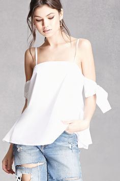 Self-Tie Open-Shoulder Top