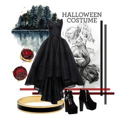 """The Lake-Goddes"" by revinaangela ❤ liked on Polyvore featuring Halcyon Days, Jeffrey Campbell, Halloween, black, halloweencostume, october and diycostume"