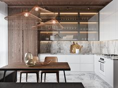 50 Lovely L-Shaped Kitchen Designs & Tips You Can Use From Them - luxury kitchen L Shaped Kitchen Designs, Best Kitchen Designs, Modern Kitchen Design, Interior Design Kitchen, Marble Interior, Interior Modern, Room Interior, New Kitchen, Kitchen Decor