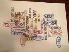 """Create a word cloud of adjectives and have students circle the words that describe different family members or friends in different colors to expand beyond """"interesante"""", """"loco/a"""", etc."""