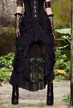 BLACE LACE VICTORIAN SKIRT -lacey and feminine -shows off legs while maintaining modesty