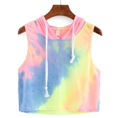 Rainbow Ombre Hooded Crop Top (60 CNY) ❤ liked on Polyvore featuring tops, shirts, crop tops, hoodies, blusas, multicolor, cropped vest top, stretch shirt, cropped vest and vest tops