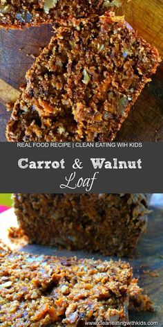 Clean Eating Carrot and Walnut Loaf. Unbelievably moist, yummy and perfect for school lunch boxes. MUST TRY!