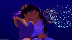 Screencap Gallery for Aladdin Disney Classics). When street rat Aladdin frees a genie from a lamp, he finds his wishes granted. Disney Dream, Disney Kiss, Disney Couples, Disney Love, Disney Magic, Disney Art, Walt Disney, Disney Jasmine, Jasmine E Aladdin