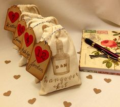 Hangover/Survival Kit Bags Personalized. Favors by LOVEandQUIRKS