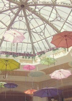 Pastel Umbrellas Photography -- Whimsical Umbrellas -- Pink Yellow Mint Pastel Dreamy Baby Girl Nursery Art Print (8x10)