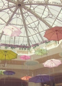 Pastel Umbrellas Photography -- Whimsical Umbrellas -- Pink Yellow Mint Pastel Dreamy Baby Girl Nursery Art Print (8x10)