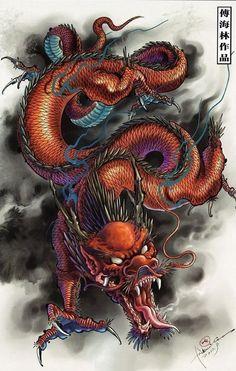 Bild Tattoos, Body Art Tattoos, Tattoo Drawings, Sleeve Tattoos, Tattoo Arm, Japanese Drawing, Chinese Dragon Drawing, Design Dragon, Totenkopf Tattoos