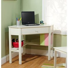 Simple Living Antique White Wood Corner Computer Desk - Overstock™ Shopping - Great Deals on Simple Living Desks- I have a small corner! Kids Corner Desk, White Corner Desk, Corner Writing Desk, Kid Desk, Corner Space, Corner Vanity, Writing Table, Cozy Corner, Homework Desk