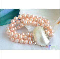 """3row 8"""" 8-9mm round pink freshwater pearl bracelet mabe clasp free shipping"""