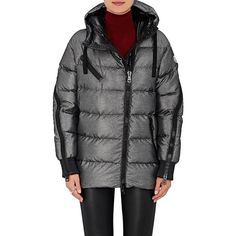 Moncler Women's Liriope Channel-Quilted Tech-Twill Coat ($1,810) ❤ liked on Polyvore featuring outerwear, coats, silver, puffer coat, padded coat, twill coat, moncler coat and leather-sleeve coats