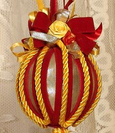 Hand Decorated Victorian Christmas Ornament by VictorianKeepsakes