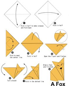 """origami fox (craft for """"Little Fox Goes to the End of the World"""""""