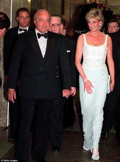 Princess Diana with Mohammed Al Fayed attending a charity dinner for the Harefield Heart Unit held at Harrods, London, February Diana wears a pale blue Catherine Walker dress. (Photo by Jayne Fincher/Getty Images) Princess Diana And Dodi, Diana Dodi, Real Princess, Princess Of Wales, Lady Diana Spencer, Spencer Family, Princesa Diana, Dodi Al Fayed, Diana Funeral