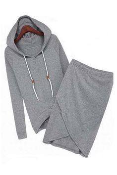 Grey Long Sleeves Hoodie With Irregular Skirt Suit