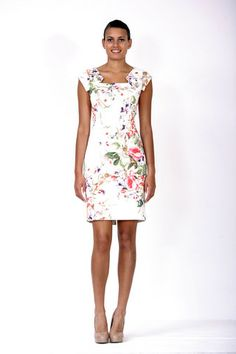 Bixa Cream patterned scooped knee length fitted dress with capped sleeves by Aideen Bodkin