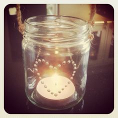 Jam jar garden candle holder