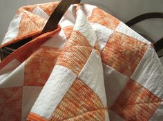 Mandarin Orange Baby or Lap Quilt by BudgiefluffSews on Etsy, $55.00