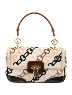 Beige canvas Louis Vuitton Velvet Chains Dolly Rabat with brass hardware,  black and brown leather